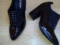 Pantofi noi piele ecologica neagra lacuita