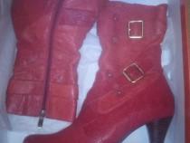 Cizme TABU rosii, elegante, din piele,M38