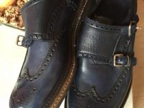 Santoni derby double strap,vintage nightblu,produs original.