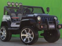 Masinuta electrica Jeep S2388 4x4 Cu scaun tapitat #Negru