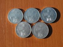 Lot 5 monede 1000 lei 2004