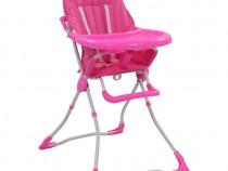 Scaun de masă înalt pentru copii, roz și alb 10183