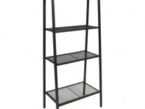 Bibliotecă tip scară, 4 trepte, metal, negru 245972