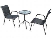 Set mobilier bistro, 3 piese, negru, oțel 43315