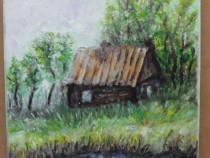 La malul apei-pictura ulei pe panza