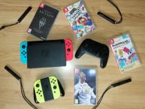 Consola Nintendo Switch+Pro controler+Joy-Con Yellow+5 Jocur