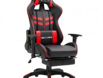 Scaun pentru jocuri cu suport picioare, roșu, 20201