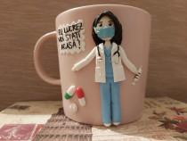 Cadou cana doctorita cu masca figurina handmade
