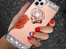 Husa oglinda cu pietricele + inel iPhone 11 Pro , 11 Pro Max