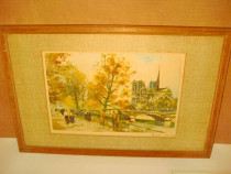 5538-Tablou Impresionist-Rue de la Madeleine, Liege semnat.