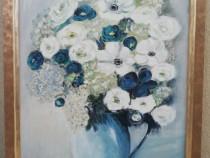 Tablou Natura statica Vas cu flori ulei pe panza 58x78cm