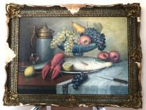 Pictura pe panza, un peste pe un platou, de Victor Stupariu