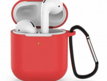 Husa protectie silicon Apple Airpods, carcasa suport casti