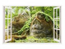 Sticker Decorativ, Fereastra 3D, Padure, 85 Cm, 237STK