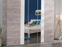 Dulap dormitor nou, stejar gri, cu oglinda, 224x55.5x206 cm