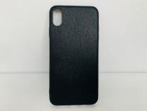 Iphone X XS XS MAX Husa Silicon Imitatie Piele Neagra