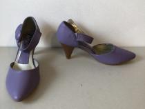 Pantofi mov, din piele ecologica,noi, cu eticheta, marime 39