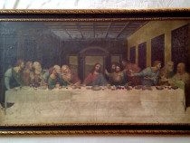 """cina cea de taina"", reproducere veche in ulei pe panza"