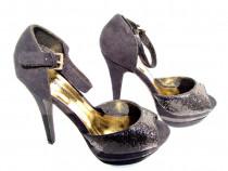 Pantofi negri pentru dama, 39, tocuri de 14 cm