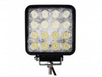 Proiector LED auto offroad 48W 12V-24V, 3520 lumeni, patrat