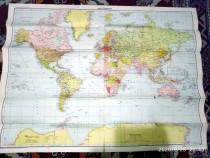 Harta lumii Weltkarte din perioada interbelica 1941 WW2