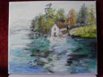Casuta de pe malul lacului-pictura ulei pe panza
