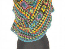 Fular mare, din lana, crosetat manual, infinity scarf