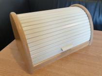 Cutie pentru paine, din lemn de fag, alba, noua, 39x25cm