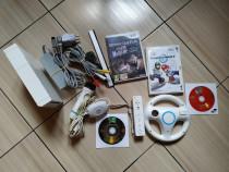 Consola Wii completa, cu volan, microfon, jocuri: Mario Kart