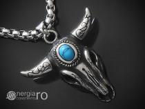 Amuleta Pandantiv Cap de Bour, Taur INOX Turcoaz -cod PND253