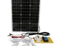 Set panou solar 50W regulator 10A 2xUSB 12/24V 4 becuri LED