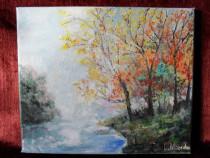 Lacul din padure-pictura ulei pe panza