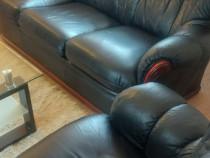 Set canapea si fotoliu din piele Vintage