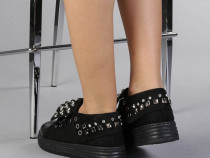 Pantofi sport dama Jufan,cu perle decorative,negri,noi