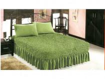 Husa pat si doua fete de perna elestice si creponate - Verde