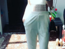 Pantalon elegant cu maieu din plasa