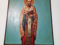 Icoană ortodoxă pictată pe lemn, Sf. Ioan Gură de Aur