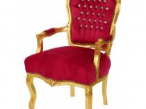 Scaun baroc din lemn masiv cu tapiterie din catifea rosie