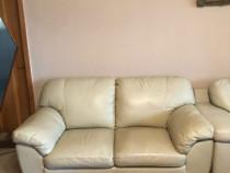 Canapea piele culoare crem