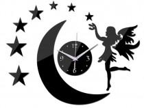 Ceas de perete stiker,luna cu stele si zana