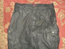 Pantaloni piele intoarsa moto sau rock culoare negru