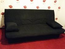 Canapea extensibila, stofa neagra, 3 locuri, perne incluse
