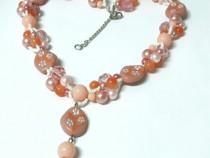 Colier pe 3 fire, portocaliu, roz