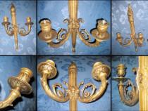 Aplice electrice pereche mari stil Louis 16 bronz masiv auri