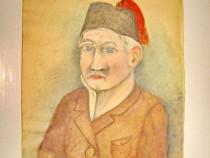 4655-Tablou vechi pictat: NAGY GEZA-Portret oficial turc.