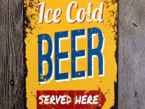 Semn / Poster metalic vintage Ice Cold Beer 20x30 cm
