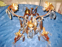 7080-Candelabru fier forjat cu sticle gen cristal stare buna