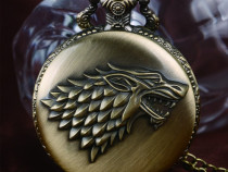 Ceas medalion cu lantisor game of thrones cap de lup bronz