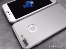Husa 360 Silver Fata + Spate + Folie Sticla - Iphone 7 7 +