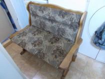 2 Banchete lemn natur, tapiterie stofa,hol/bucatarie,pret fix